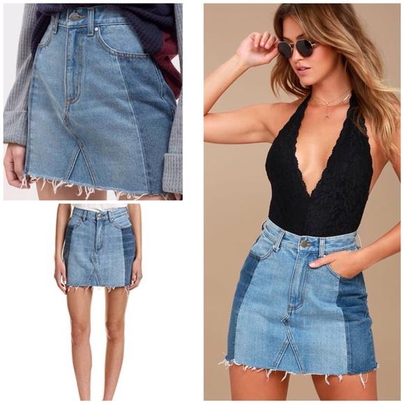 534deb421f Lulu's Skirts | Lulus Two Tones Distressed Raw Hems Denim Skirt ...